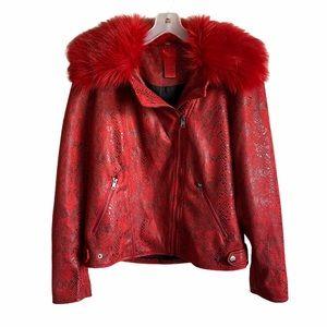 V Cristina Red Faux Snake Skin Faux Fur Jacket M